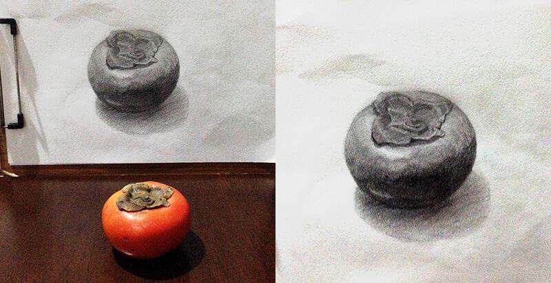 海の見えるの部屋でいつもより開放されて描いた柿
