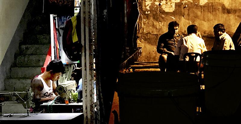 ミャンマー正月前日に遅くまで働く青年とコーヒーを飲む南アジア系の男性3人