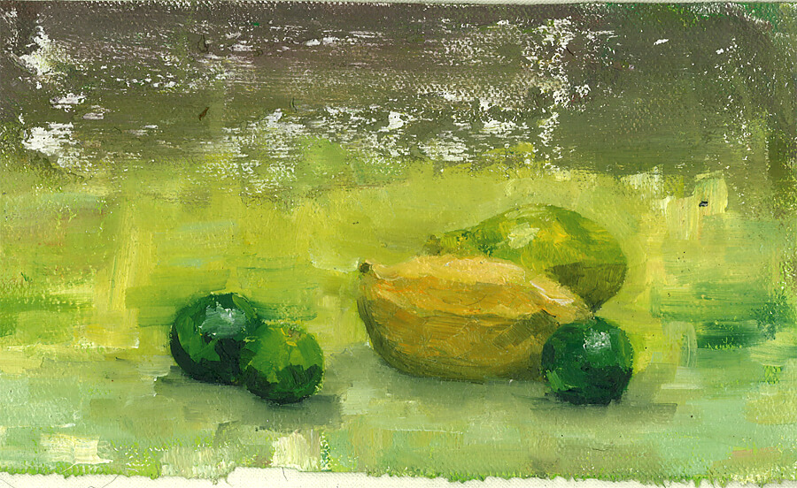 ハノイの街で描いたマンゴーとライムの静物