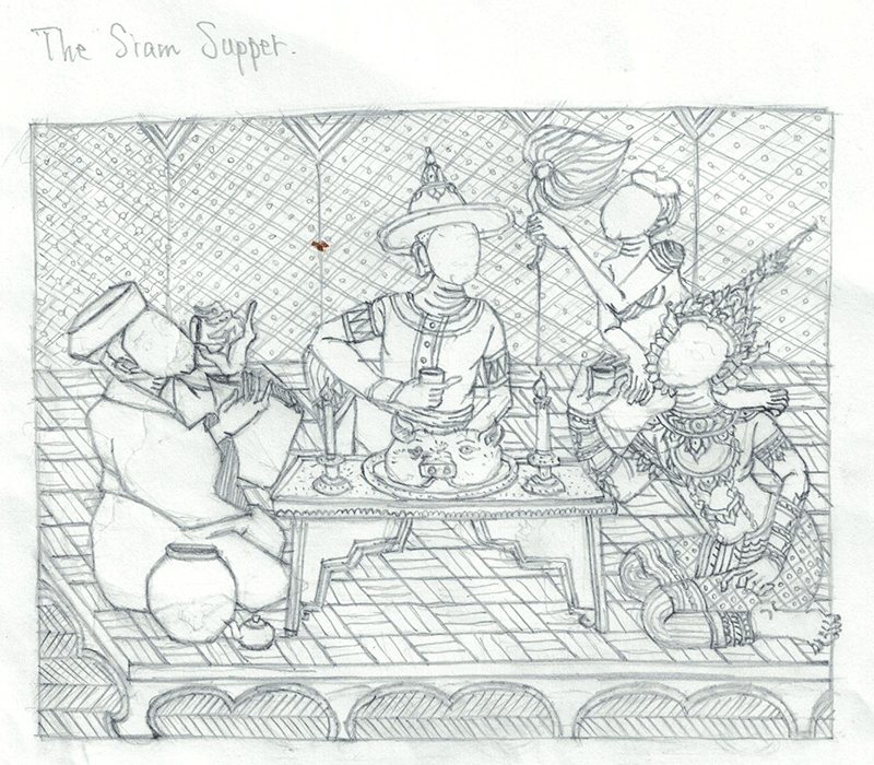 『サヤームの晩餐』鉛筆画